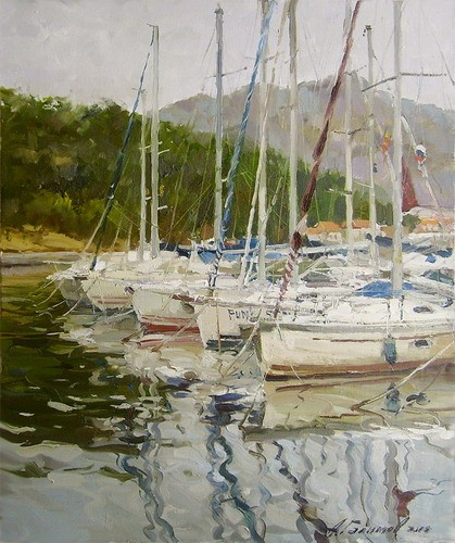 Painting.Montenegro.Yachts in the Bay of Kotorsky.