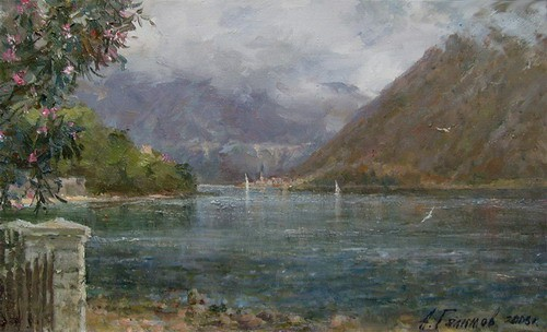 Painting.Montenegro. Stoliv. Cloudy day.