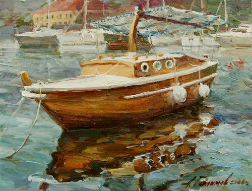Painting.Montenegro. Boat  in the Bay of Kotor.