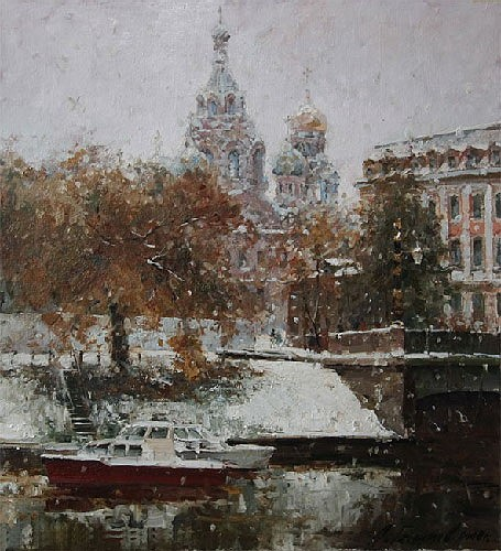Painting Azat Galimov.River Moyka winter