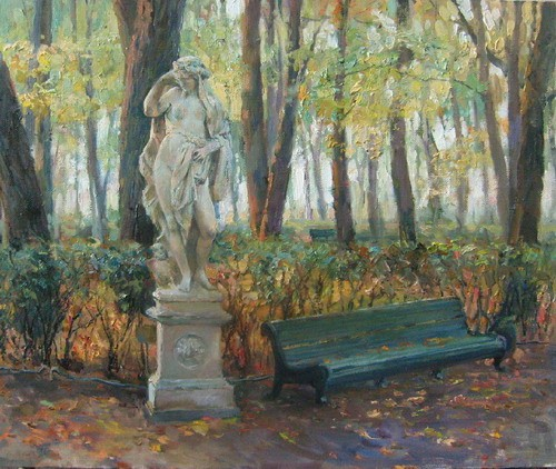 Painting Azat Galimov.Summer Garden. Autumn.