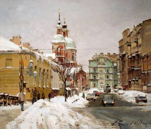 Paintings Azat Galimov. Snow on str.Pestelya. Winter 2010