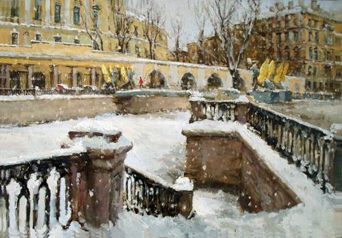 Paintings Azat Galimov. Channel Griboyedov. Bank Bridge. Snow ... Snow ...