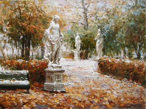 Paintings Azat Galimov. Late autumn. Summer Garden