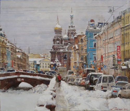 Paintings Azat Galimov. From city life. Winter. Peter