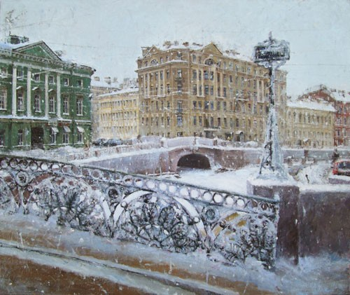 Paintings Azat Galimov. River Moyka. Blizzard