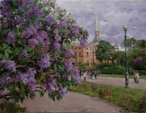 Painting Azat Galimov. It is time of lilac. Field of Mars. St.Petersburg.