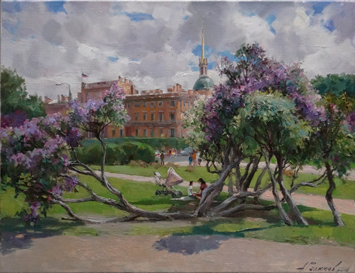 Painting Azat Galimov. Lilacs in the sun. Field of Mars. St.Petersburg.