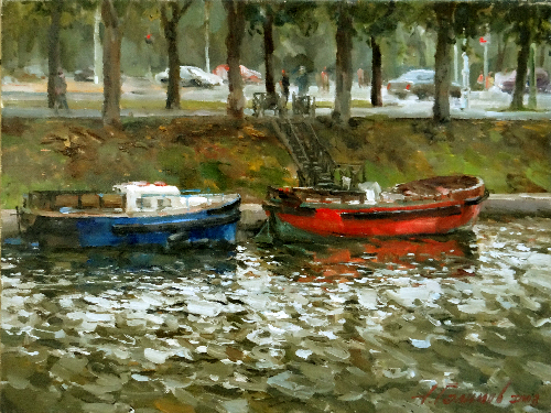 Paintings Azat Galimov.Boats on the River Moyka, the Campus Martius