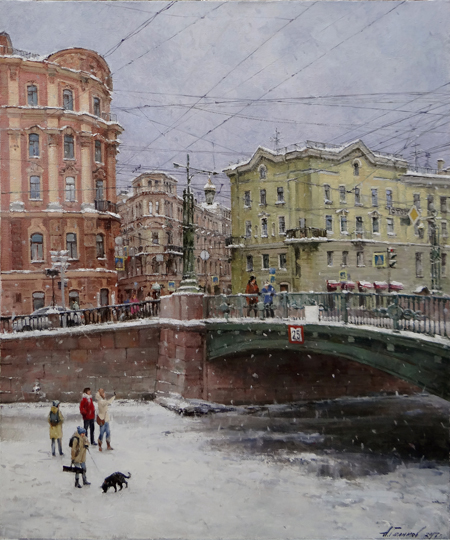 Paintings Azat Galimov. Under the bridge Voznesensky. The Griboyedov Canal.