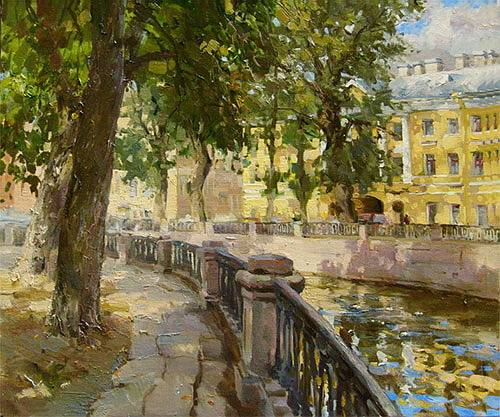 Paintings Azat Galimov.Canal Griboyedov. In the shade of trees