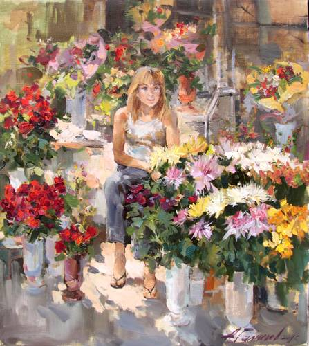 Painting A.Galimov In anticipation of happiness ...Flower-girl from Varna.