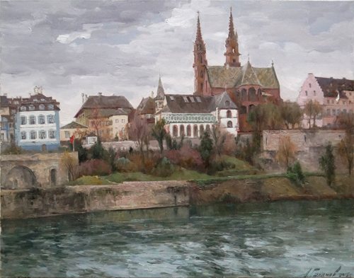 Painting by Azat Galimov.March on the Rhine river. Basel. Switzerland.