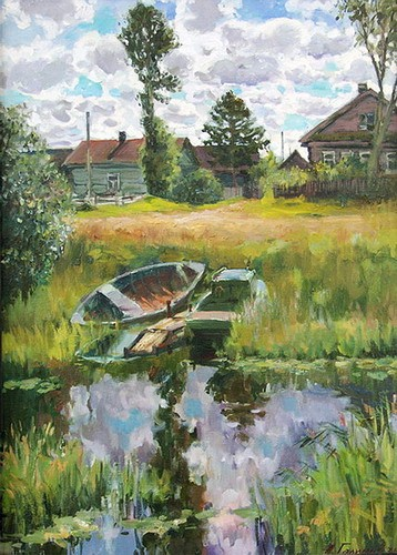 Painting Galimov Azat.Boats.