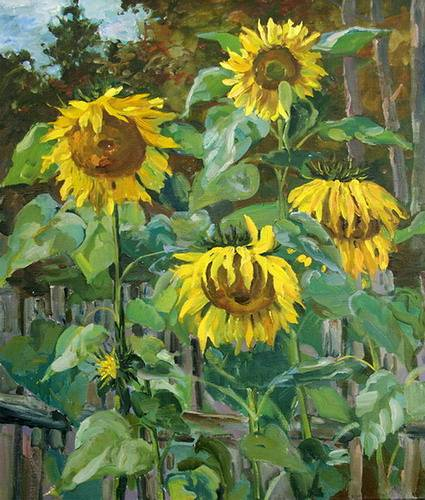 Painting Galimov Azat.Nemyatovo. Sunflowers.