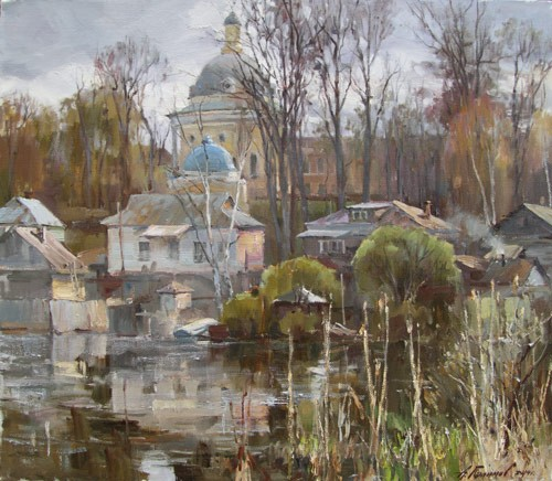 Painting Galimov Azat.Valdai. Silver light.