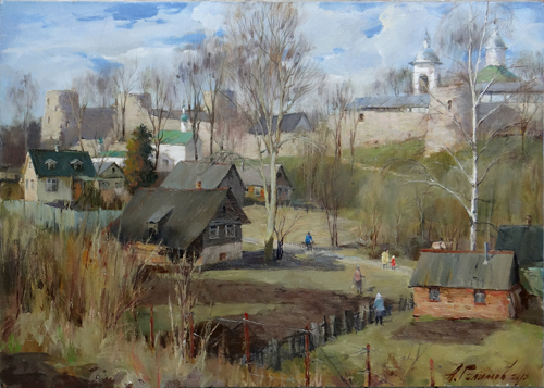Painting Galimov Azat.Izborsk weekdays. Spring.