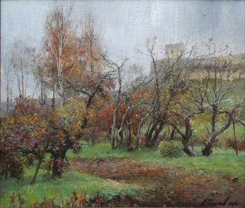Painting Galimov Azat.Apple trees in the rain. Izborsk.
