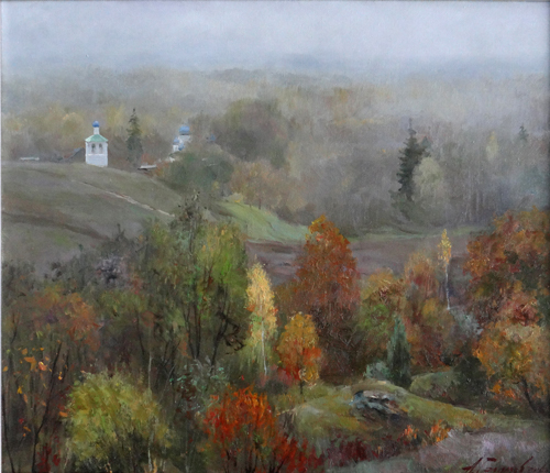 Painting Galimov Azat.A foggy morning. Izborsko - Malskaya Valley.