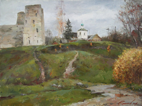Painting Galimov Azat.The path to the temple. Izborsk.