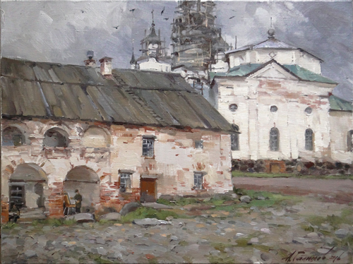 Painting Galimov Azat. The Solovetsky monastery. The view of the Cathedral of St. Philip from the Southern courtyard.