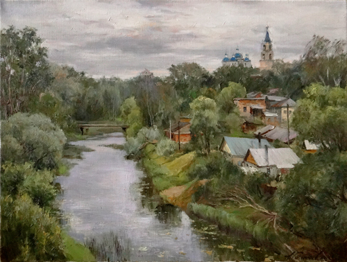 Painting Galimov Azat. Above the river Kashinka.