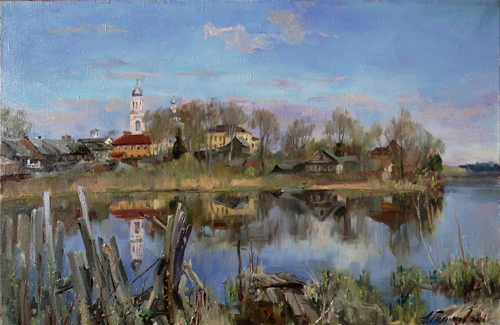 Painting Galimov Azat. Valdai morning. Reflections.