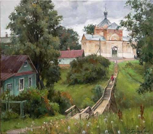 Painting Galimov Azat. Summer in Kashin city. On the way to the temple.