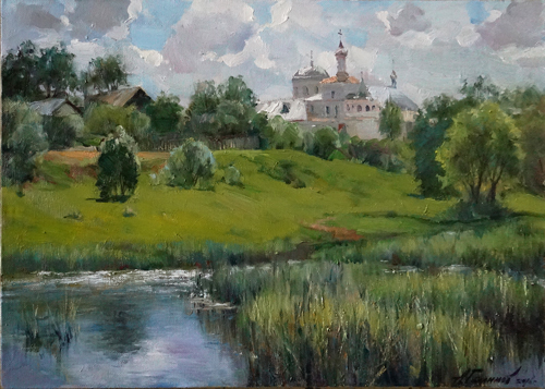 Painting Galimov Azat. Summer in Kashin city. Noon .