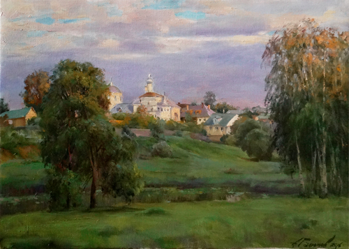 Painting Galimov Azat. Quiet evening. The Klobukov monastery, City Kashin.