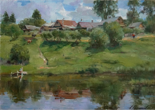 Painting Galimov Azat.Summer in the province.  Kashin city.