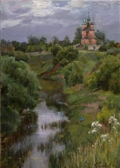 Painting Galimov Azat. Above the steep banks.  Kashinka River.