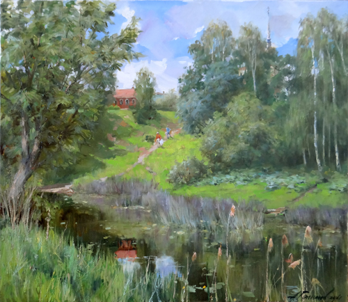 Painting Galimov Azat.  In the thickets of reeds. River Kashinka.