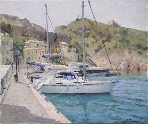 Painting Galimov Azat. Yacht  Glory of Sevastopol. Crimea.