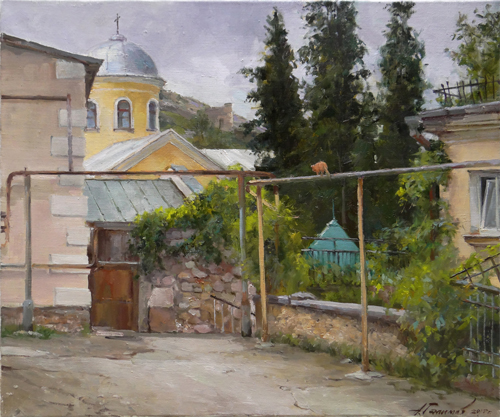 Painting Galimov Azat. Balaclava. Court at the Church of the Saints of the Twelve Apostles.