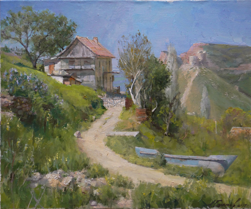 Painting Galimov Azat.On a fine day. Balaklava, Crimea.