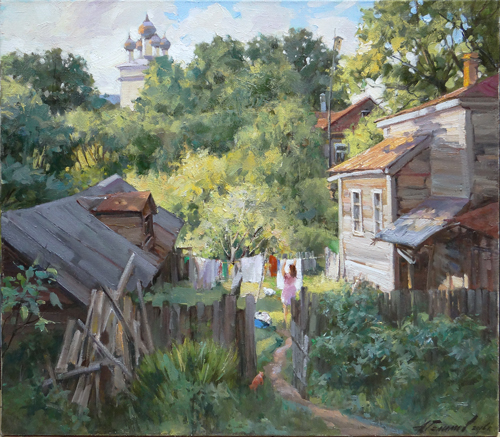 Painting Galimov Azat.From the life of the province. Morning, Kashin.