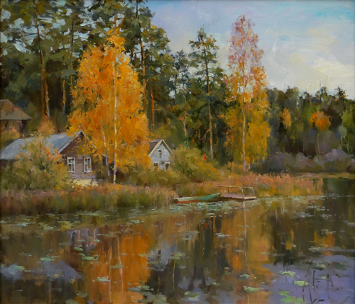 Painting Galimov Azat.Gold of autumn. Lake Mstino. Tver region.