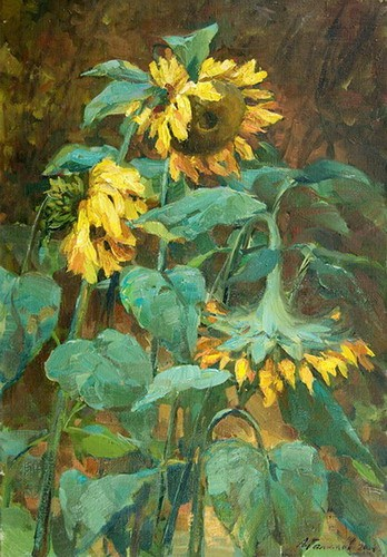 Painting Galimov Azat.Rustic Sunflowers .