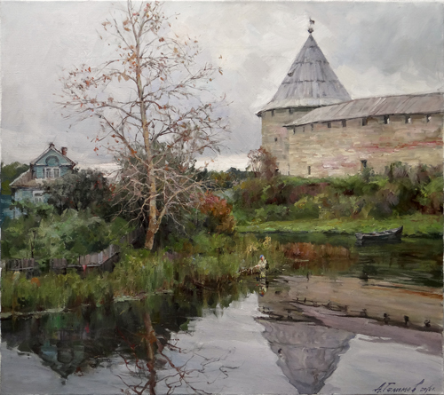 Painting Galimov Azat.At the walls of the Old Ladoga fortress. Ladozhka River.