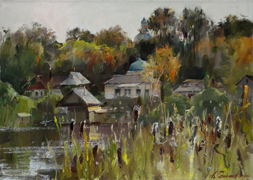 Painting Galimov Azat.Quiet evening on Valdai Lake.