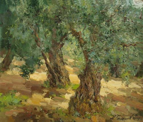 Painting Azat Galimov.Island of Marmara. Dance of the old olive trees.
