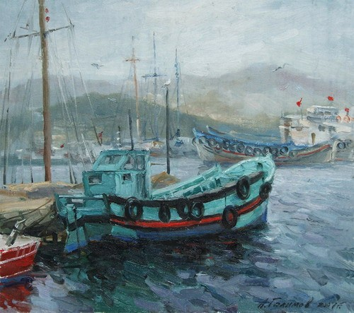 Painting Azat Galimov.Turkish boats.