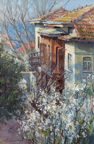 Painting Azat Galimov.Flowering cherry plum on the Princes' Islands.