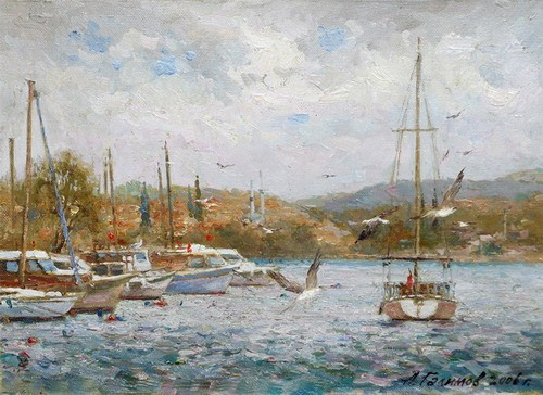 Painting Azat Galimov.Seagulls on the Sea of Marmara.