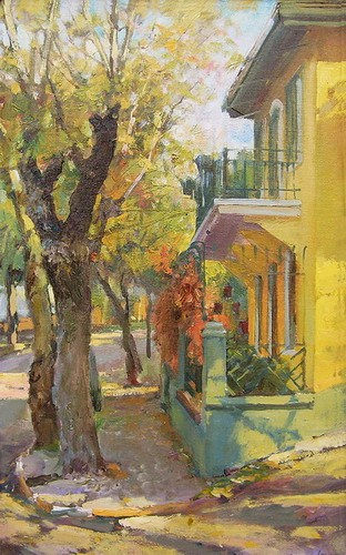 Painting Azat Galimov.Princes' Islands. Yellow House.