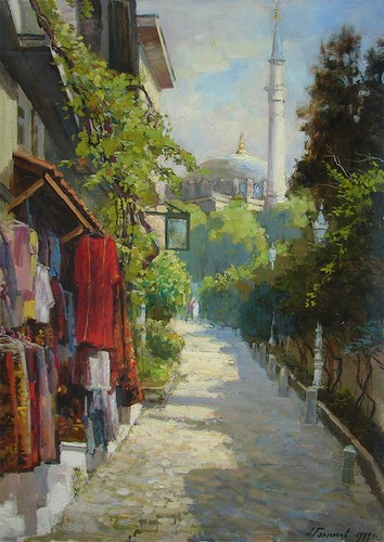 Painting Azat Galimov.Sultan Ahmet. Old street in the heart of Istanbul.