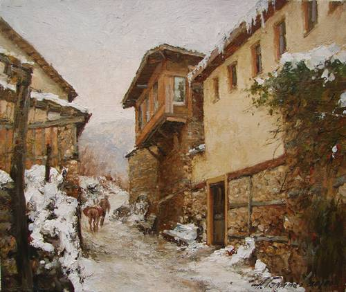 Painting Azat Galimov.Mountain village in Turkey.