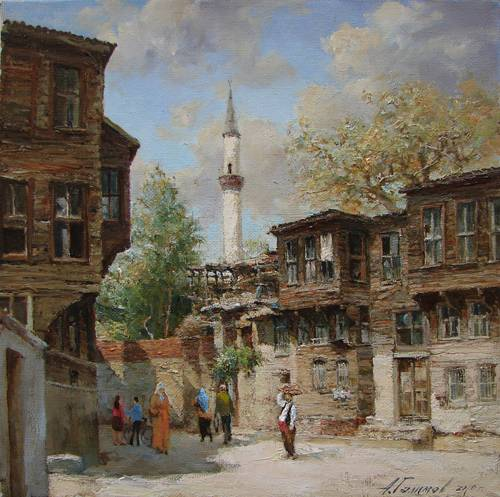 Painting Azat Galimov.Street of old Istanbul in the area Fattah.