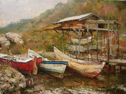 Painting Azat Galimov.Turkey. Fishing Station.